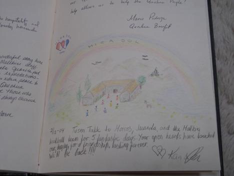 Her er hilsenen vi skrev i gjesteboka første gang vi besøkte Mallkini, for fire år siden.